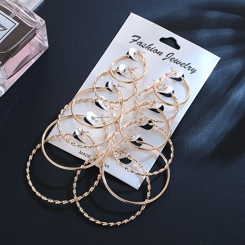 US $2.77 |OATHYAN 6 Pairs/set Minimalist Jewelry Fashion Round Circle Hoop Earrings Set For Women Gold Silver Big Earring Gifts Brincos-in Hoop Earrings from Jewelry & Accessories on AliExpress