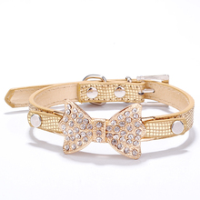 Rhinestone Dog Collars Small Dogs Bling Crystal Bow PU Leather Pet Collar Puppy Cats Necklace Harness Leash Accessories