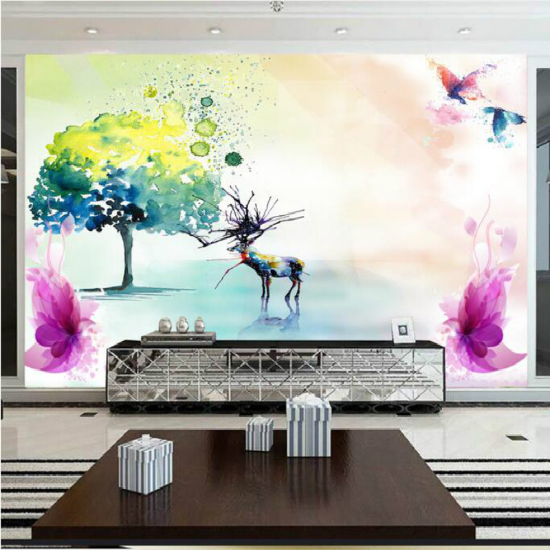Hand painted water color deer large murals wallpaper for living room bedroom TV background 3D wallpaper book knowledge power channel creative 3d large mural wallpaper 3d bedroom living room tv backdrop painting wallpaper
