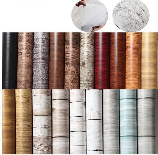 1M/5M/10M Kitchen Wood Wall Stickers Wallpaper Films Refurbished Wardrobe Clothes Cupboard Door Desktop Furniture Home Decor ...