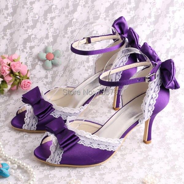 ФОТО Wedopus MW674 Unique High Heels Ladies Peep Toe Heels with Bow Party Bridal Shoes Dress Purple