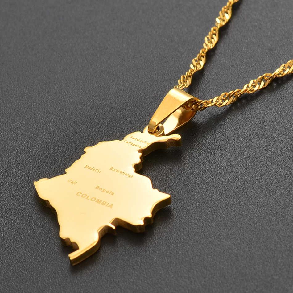 Anniyo kolumbia wisiorek i fala wody łańcuch dla kobiet dziewczyn kraj mapa biżuteria ze stali nierdzewnej kolumbia #112621