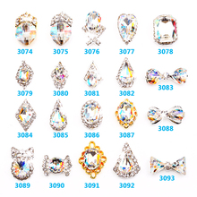 ML3074-3093 Clear White Rhinestones DIY Charms Art 3D Nail Decoration crystal Shaped Alloy Diamond Tear