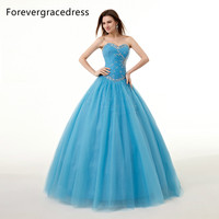 Forevergracedress Real Images Blue Quinceanera Dress New Arrival Beads Sweetheart Long Lace Up Back Formal Party Gown Plus Size
