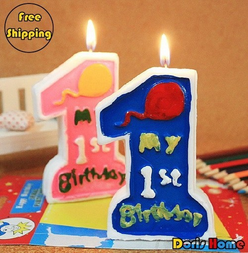 WholesaleFree Shipping New Child Birthday Candle For 1 Year Old 10pcs