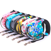 2015 Hot New 5M Automatic Retractable Leashes Nylon Pet Leash Multicolor Pattern Dog Leashes Pet Supplise