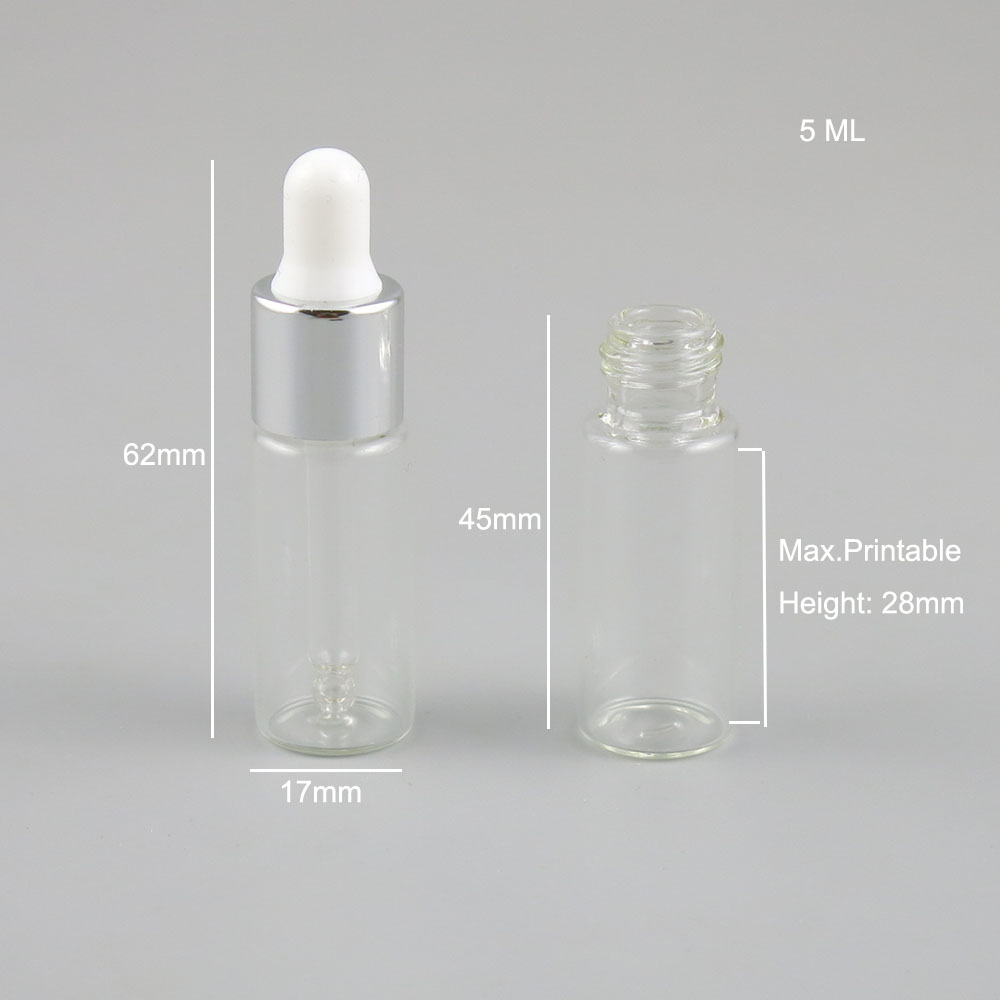 Купить с кэшбэком 5 x 5ml Portable Clear Glass E-liquid Transparent Bottles with 5 Color Dropper Essential Oil Chemical Perfume Cosmetic Container