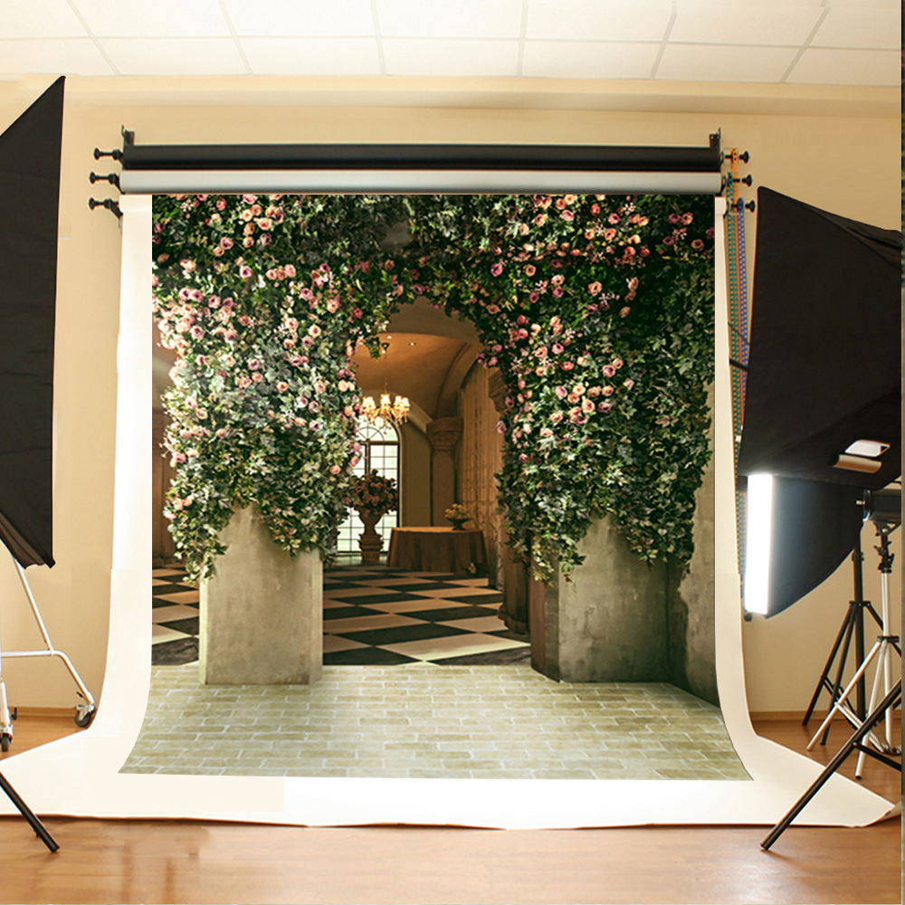 Wedding Photography Background Pink Flowers Green Leaves Photo Backdrops Vinyl White Ground Brick Backgrounds for Photo Studio 200 300cm backgrounds for photo studio photography backdrops white green the open air terrace flowers tree for wedding