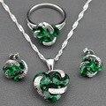 925 de Plata Simple Flor Verde Esmeralda Creado Joyería Conjuntos Pendientes/Colgante/Collar/Anillo De Las Mujeres Del Envío regalo TZ59
