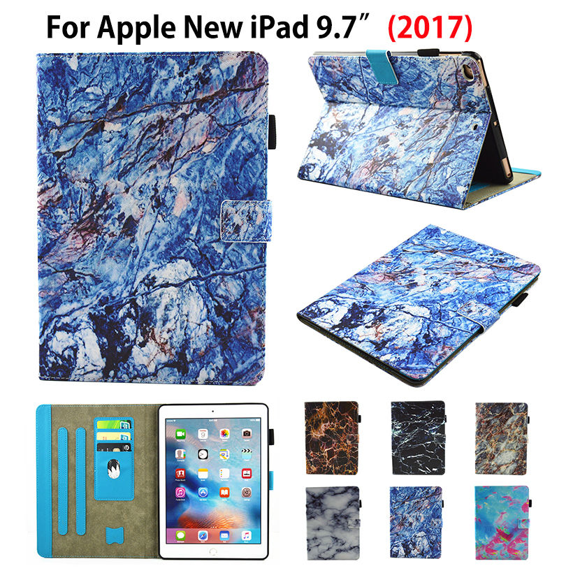Marble Pattern Flip Cover For Apple New iPad 9.7 2017 Case Funda Tablet A1822 Soft TPU Silicone PU Leather Stand Shell+Pen+film flip left and right stand pu leather case cover for blu vivo air