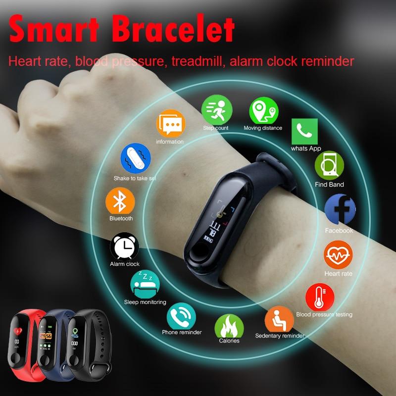 M3 bande intelligente Bracelet santé fréquence cardiaque/sang/pression/moniteur de fréquence cardiaque/podomètre sport Bracelet pour hommes femmes bande intelligente
