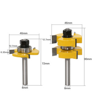 "Image 2 - 2pc 8mm Shank Tongue & Groove Router Bit Set   Large Stock up to 1 1/4"" Woodworking cutter Tenon Cutter for Woodworking Tools"