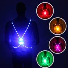 Cycling Light Running Vest Night Riding Color Reflective LED Back Bike Safety Taillight Bicycle Warning Lights