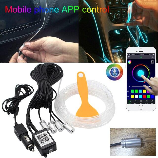 แถบ LED RGB LED Ambient Light APP ควบคุมบลูทูธสำหรับรถภายในบรรยากาศหลอดไฟ 8 สี DIY เพลง 4 M ไฟเบอร์ออปติก Band
