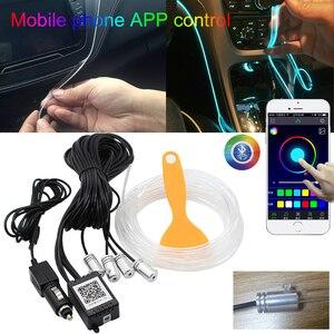 Image 1 - RGB LED רצועות אור הסביבה APP Bluetooth בקרת לרכב פנים אווירת אור מנורת 8 צבעים DIY מוסיקה 4 M סיבים אופטי להקה