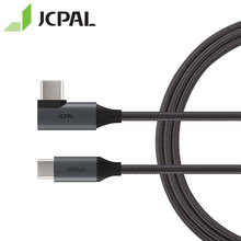 JCPAL FlexLink USB-C 3.1 Gen2 Cable 90-degree Connector At One End 1.5-meter Length Type-C 10Gbps 87W 4K 60Hz 53298
