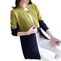 2018 New Autumn Korean Loose Knitwear Tops Patchwork Long Cardigan Sweaters Winter Women Sweaters and Cardigans Sueter Mujer