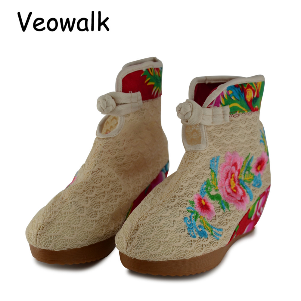 Veowalk Summer Cotton Flower Embroidered Women Short Ankle Lace Boots Brathable Ladies Hidden Wedges Platform Shoes Zapato Mujer veowalk winter warm fur women short ankle boots cotton embroidered ladies casual canvas 5cm heels wedge platform booties shoes