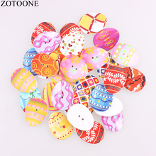ZOTOONE 100pcs Colorful Mix Design Fashion Eggs Wooden Buttons Easter Painting 2 Hole Fit Sewing DIY Scrapbooking Craft D