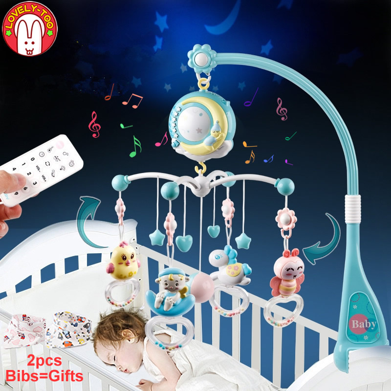 Baby Crib Mobiles Rattles Toys Bed Bell Carousel For Cots Projection Infant Babies Toy 0-12 months For Newborns