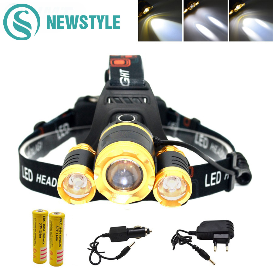 3T6 LED Head Lamp Rechargeable Zoomable LED Headlight Headlamp Torch LED Flashlight+18650 Battery+Charger for Hunting Fishing high quality 2 mode power 5w led headlight 48000lx outdoor fishing headlamp rechargeable hunting cap light
