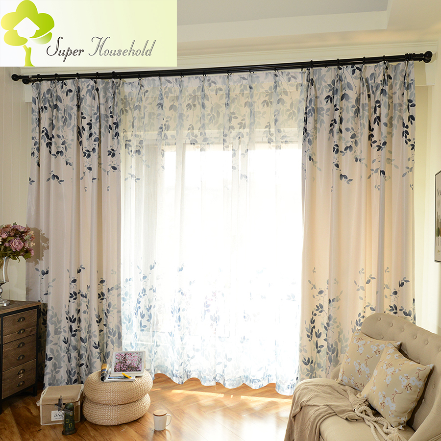 Blackout Kitchen Curtains Polyester Valance Tiers 3: Leaf Printed Blackout Curtains For Living Room Window