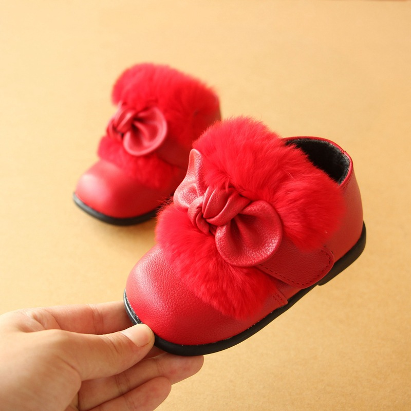 Size 15 19 2017 Winter Baby Grils Snow Boots Cute Fur Butterfly knot Baby Toddler Shoes