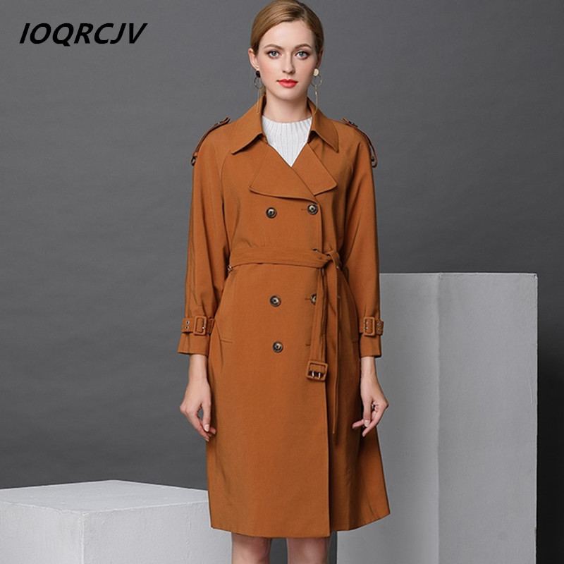2018 Spring   Trench   Coat For Women Double Breasted Slim Fit Long Windbreaker Casaco Feminino Abrigos Mujer Autumn Outerwear F97