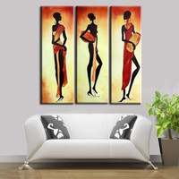 Handmade Acrylic Africa Women Paintings Modern Wall Art Decor 3 Panel Pictures Handpainted Abstrac Figure Oil