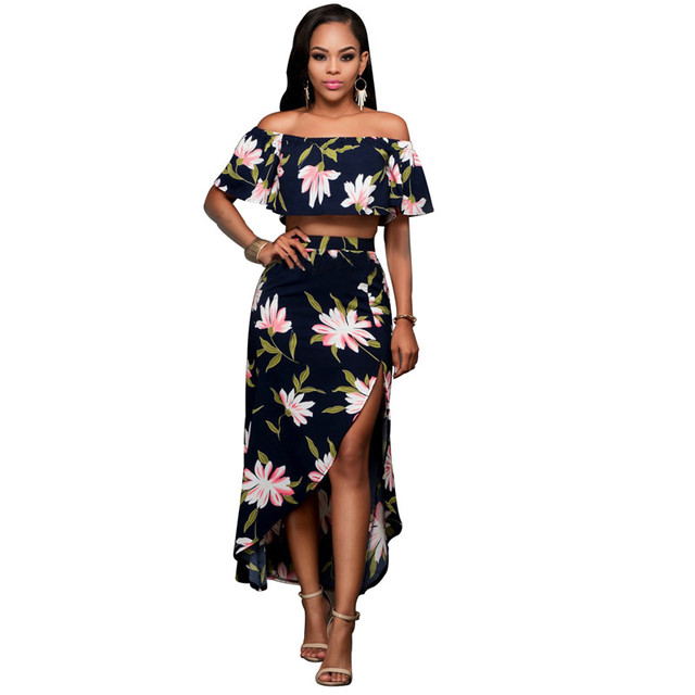 2016 новый урожай топ и длинные юбки костюмы женщины два шт набор слэш шеи сексуальный ансамбль femme vestidos bodycon халат