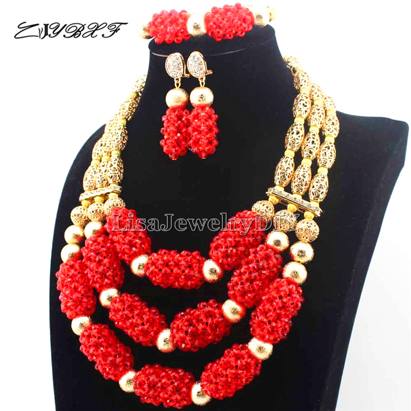 New Shinny Red Nigerian Wedding African Beads Jewelry Set 3 Steps ...