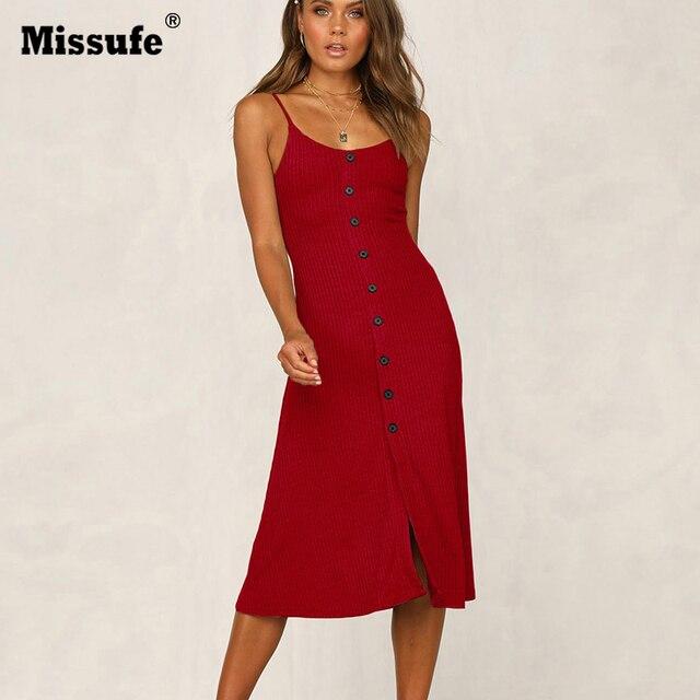 1e87ce2209 Missufe przycisk przodu linia letnia sukienka Mide długość Spaghetti Strap  Sexy Backless kobiety suknie 2019 Vestido stałe kobiet tunika