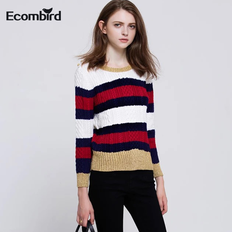 Fashion Winter Cotton Sweater for Women Long Sleeve O-Neck Slim Pullovers High Quality Runway Designer Beading Button Sweaters