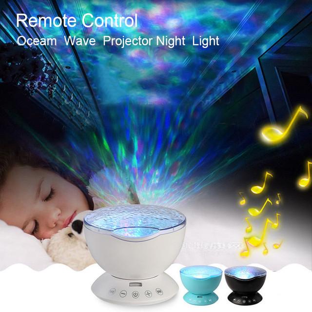 Ocean Wave Proyector Led Nightlight Bebé Durmiendo Noche Lámparas + Control Remoto IR 12 unids RGB Led con Una Función de Altavoz para niños
