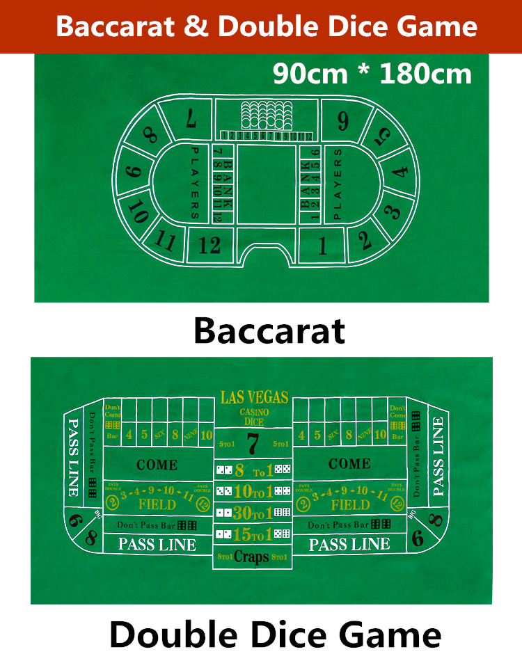 Double Side Green color Baccarat and Double Dice Game gaming tablecloth 90cm*180cm ...