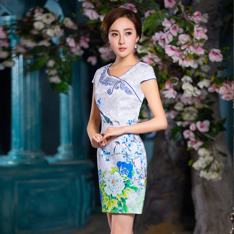 0f0d9846a08 Best Seller Fengmeisi chinese traditional dress women cheongsam short qipao  vintage print elegant oriental dress wedding party clothes P3120
