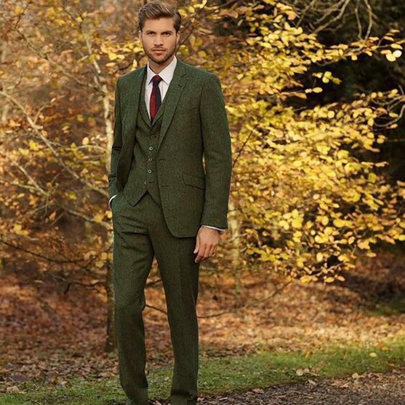 Costume Homme Mariage Classique Veste Vert Tweed Hommes Costumes pour le Mariage Mens Blazer Vintage Costume Rétro Marié Smokings 3 pièces