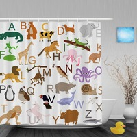 Animals Educational Alphabet Letters Kids Shower Cutains Baby Nursery Bathroom Curtains Polyester Waterproof Fabric With Hooks