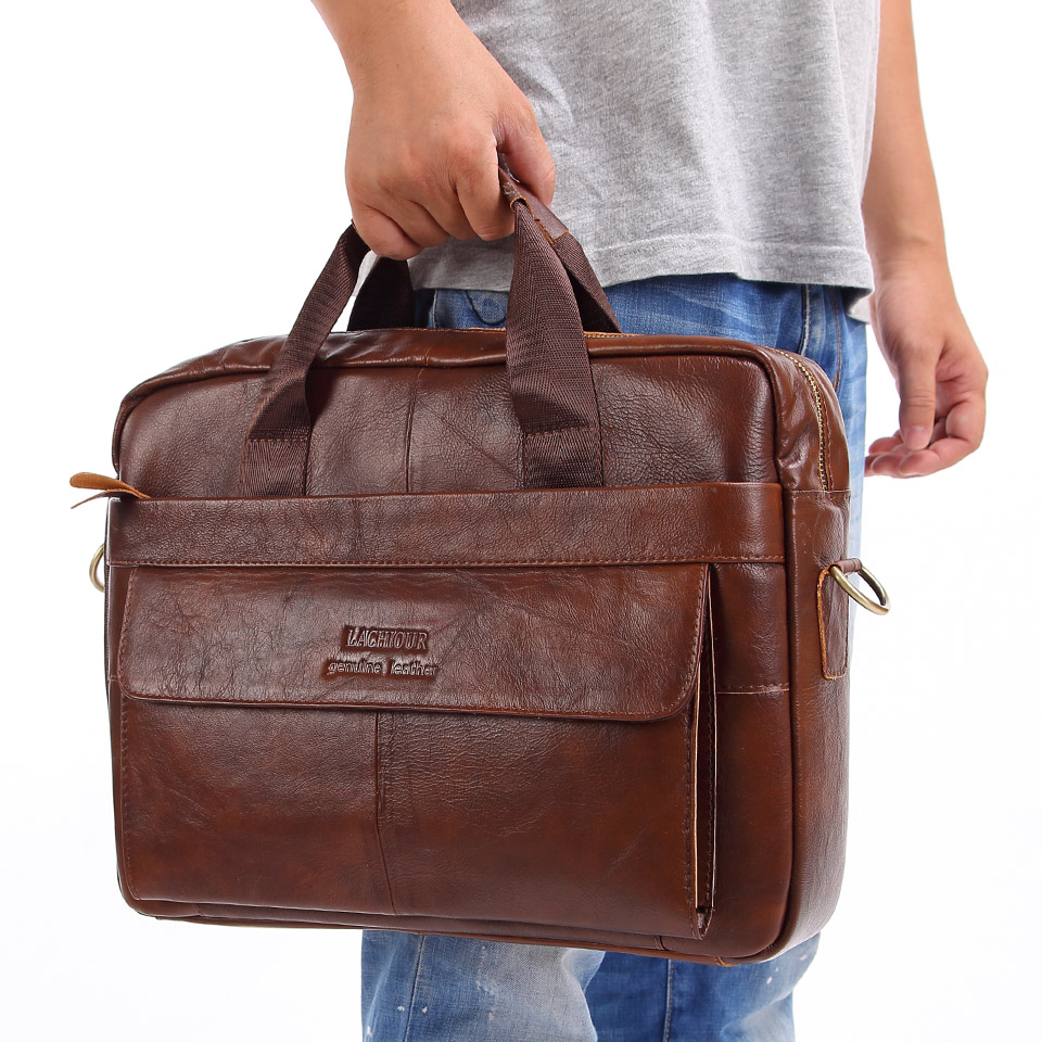 "Brand Men Genuine Leather Handbags Large Leather 15"" Laptop Bags Briefcases Casual Messenger Bag Business Men's Travel Bags"