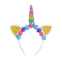 2019 Kids Unicorn Headband Rose Flower Hair Hoop Colorful Headbands Bonus for Christmas Party Accessories
