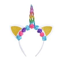 Unicorn Headband Hair-Accessories Hair-Hoop Rose-Flower Christmas-Party Kids Colorful