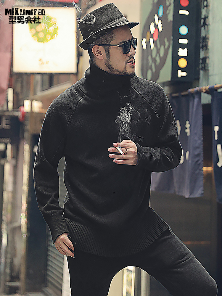 Spring Thickening Black Men's Turtleneck Sweater Thick Needle Warm Casual Pullovers Men Long Sleeve European Style Sweater J774