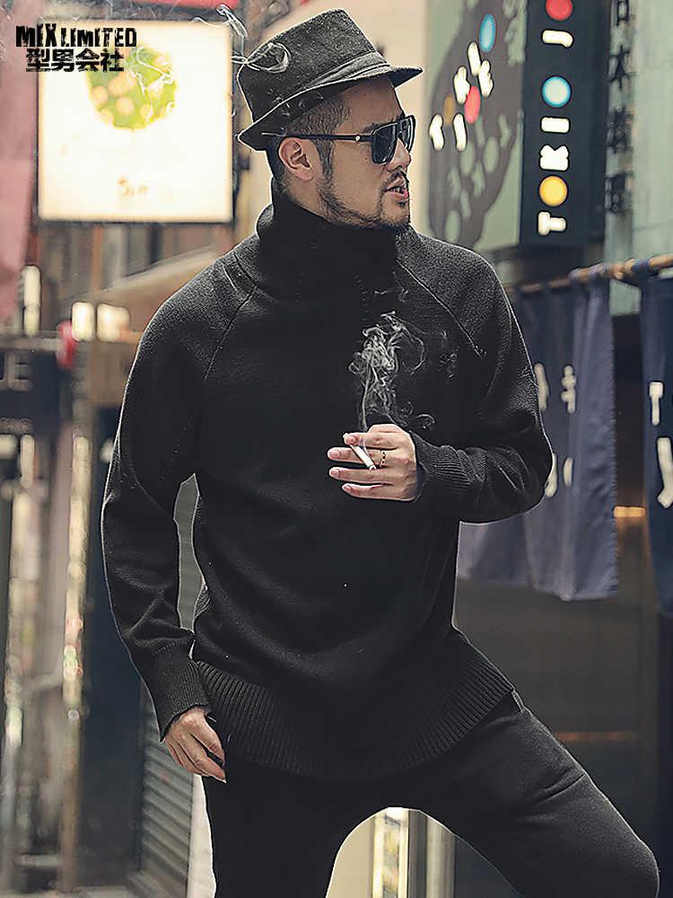 Wiosna pogrubienie czarny męski sweter z golfem gruba igła ciepłe swetry na co dzień mężczyźni sweter z długim rękawem w stylu europejskim J774