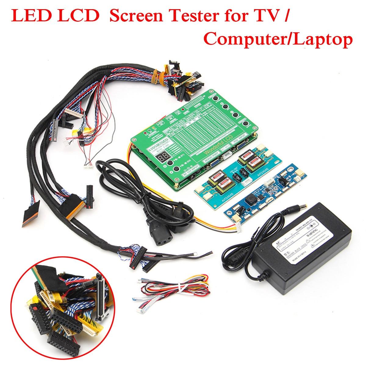 Новый ноутбук ЖК-дисплей/светодио дный Тесты Tool Kit Панель Экран Тесты er + 14 шт. Lvds кабели + инвертор