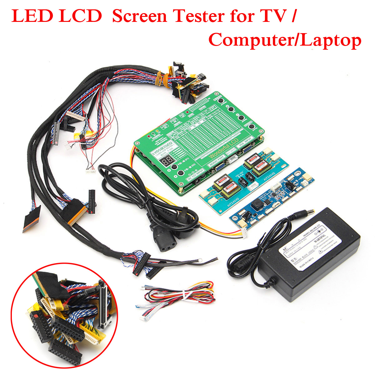 New Laptop LCD/Ferramenta de Teste LEVOU Kit Painel Tela Tester + 14 pcs Cabos Lvds + Inversor