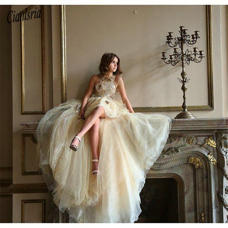 Unique Champagne High Low   Flower     Girls     Dresses   For Weddings with Appliques Lace Tulle   Girl   Birthday   Dress   Pageant Gown Hot Sale