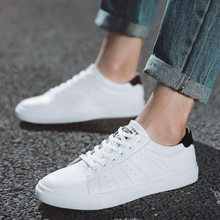 2018 new style white shoes men breathable leisure shoes popular shoes flat-bottomed  pure white shoes   5 2018 new style buttons flat bottomed shoes women s fashion shoes suede women s shoes college students