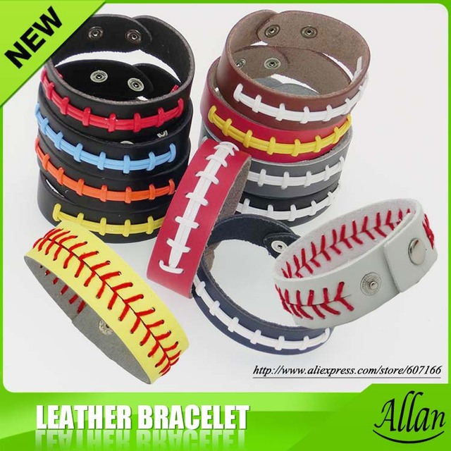 2019 Wristbands Football Softball Baseball Leather Bracelets Wristlets Stitches Sports Team 19 Colors Gifts Game Wear