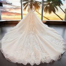 Роскошное Свадебное платье evebridal с аппликацией бисером трапециевидной