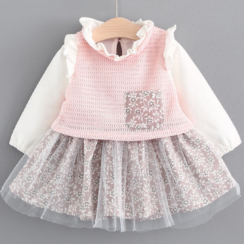 Menoea 2018 New Autumn Cute Baby girls clothes long sleeve princess girls dress Ball of yarn Kids Clothes Children Party dresses 2015 new spring autumn korea style girls cute leather lace patchwork princess long sleeve dresses baby boutique dress